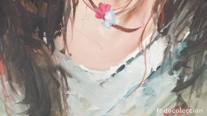 Arte: Precioso retrato de joven morena- Óleo sobre lienzo, lujosamente enmarcado - Envío gratis Península - Foto 21 - 235580620