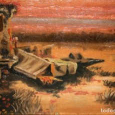 Arte: ENRIQUE SERRA. OLEO SOBRE TABLA. LAGUNA. Lote 235601125
