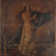 Arte: VIRGEN, ÓLEO SOBRE TELA, SIGLO XVIII. 100CMX85CM. Lote 235652465