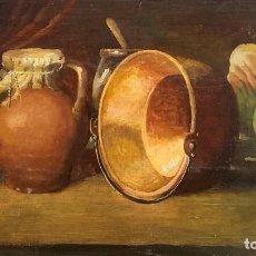 Arte: BODEGON CLASICO ESPAÑOL, CON CALDERO, OLEO SOBRE TABLA. Lote 235820025