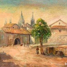 Arte: ANTIGUA VISTA DE CIUDAD CON CATEDRAL GOTICA, OLEO SOBRE TABLA. Lote 235822080