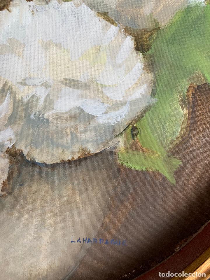 Arte: Carlos Laharrague – Cuadro al óleo Hortensias. - Foto 6 - 229980140