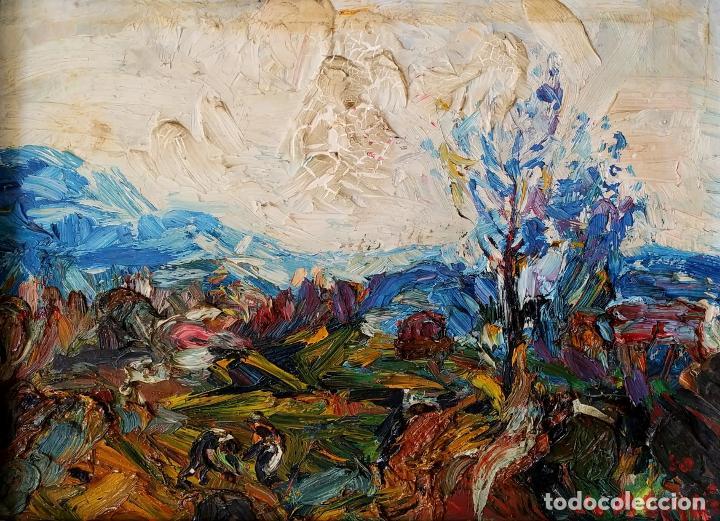 PAISAJE. FIRMADO. JOAN ABELLÓ. ÓLEO SOBRE TABLEX ENTELADO. ESPAÑA. 1960 (Arte - Pintura - Pintura al Óleo Contemporánea )