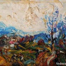 Arte: PAISAJE. FIRMADO. JOAN ABELLÓ. ÓLEO SOBRE TABLEX ENTELADO. ESPAÑA. 1960. Lote 235964400