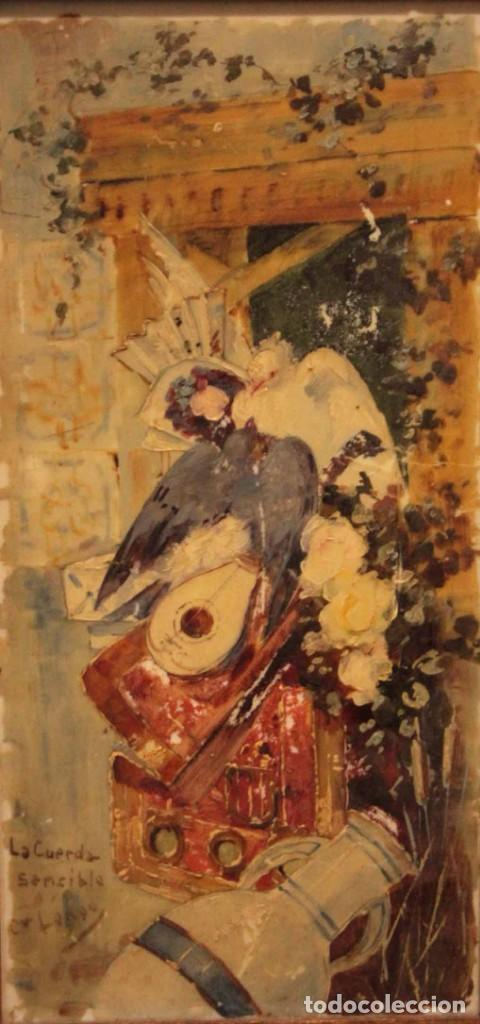 ATRIBUIDO A HORACIO LENGO (S.XIX) - LA CUERDA SENSIBLE. 38X25CM(ENMARCADO) (Arte - Pintura - Pintura al Óleo Moderna siglo XIX)
