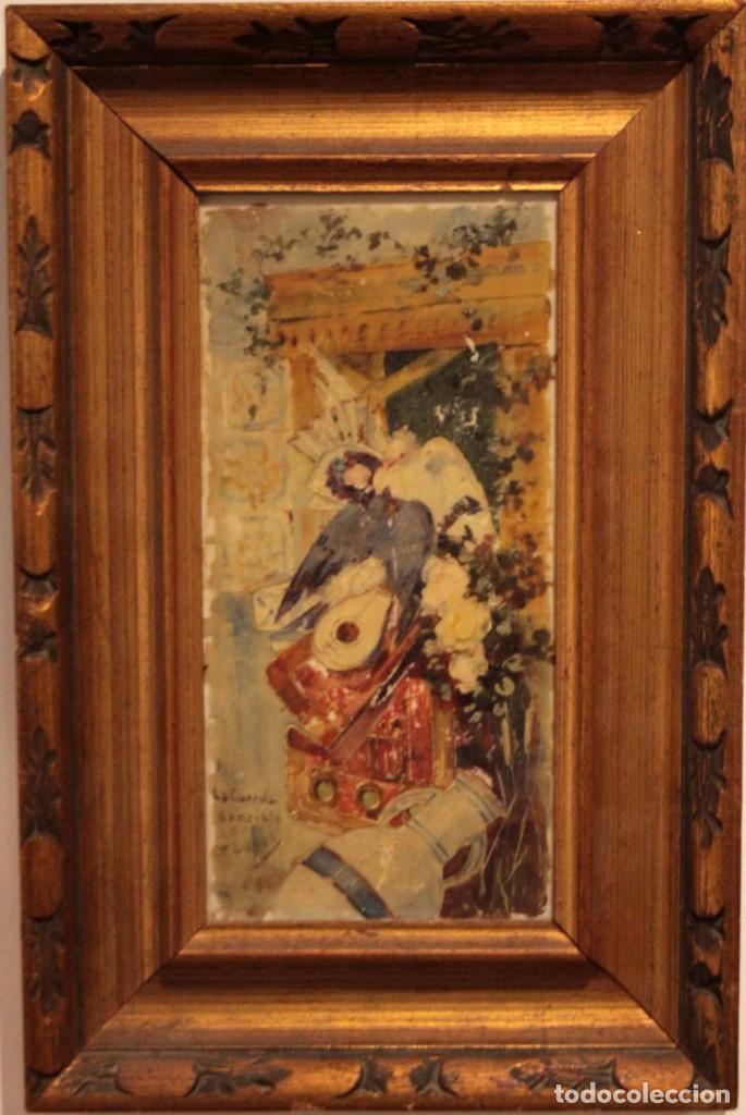Arte: Atribuido a Horacio Lengo (s.XIX) - La cuerda sensible. 38x25cm(enmarcado) - Foto 2 - 236020110