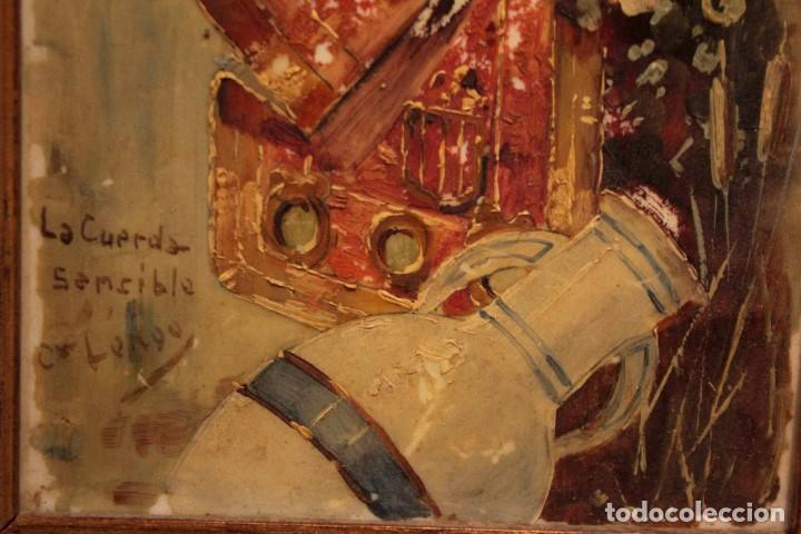 Arte: Atribuido a Horacio Lengo (s.XIX) - La cuerda sensible. 38x25cm(enmarcado) - Foto 4 - 236020110