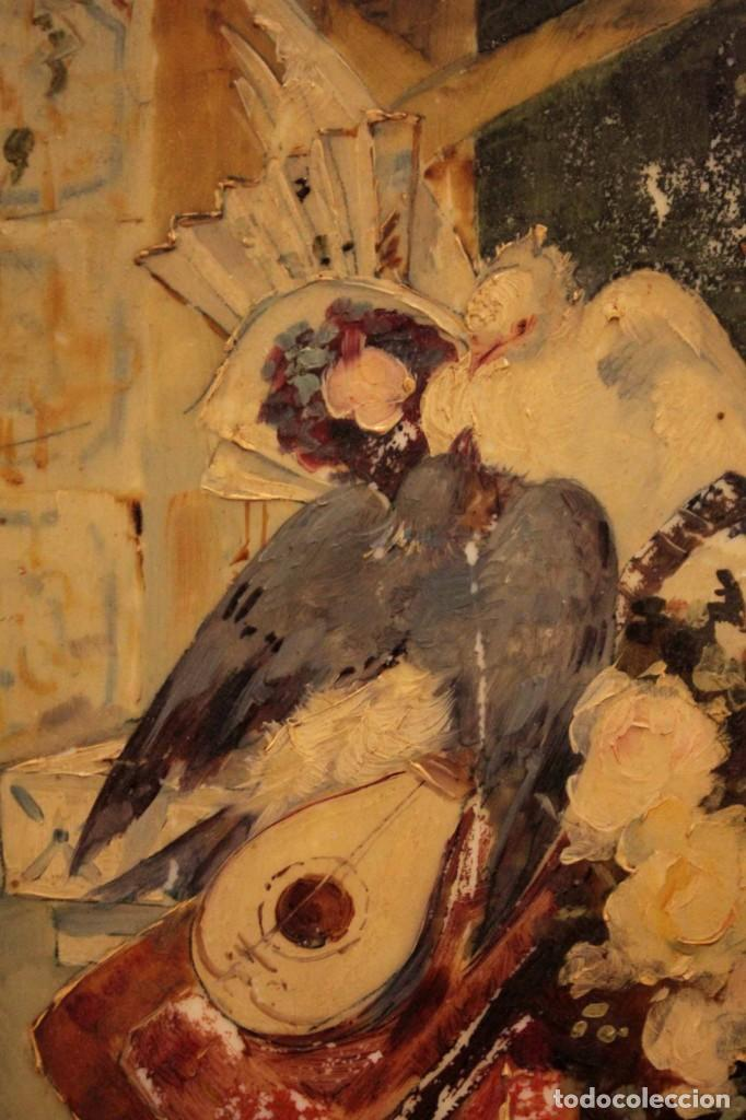 Arte: Atribuido a Horacio Lengo (s.XIX) - La cuerda sensible. 38x25cm(enmarcado) - Foto 6 - 236020110