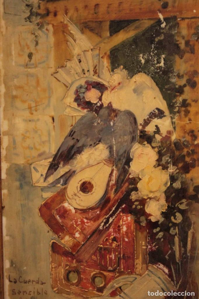 Arte: Atribuido a Horacio Lengo (s.XIX) - La cuerda sensible. 38x25cm(enmarcado) - Foto 12 - 236020110