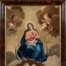 Arte: ÓLEO LIENZO ADHERIDO A TABLA INMACULADA CONCEPCIÓN ESCUELA MADRILEÑA SIGLO XVIII. Lote 236041365