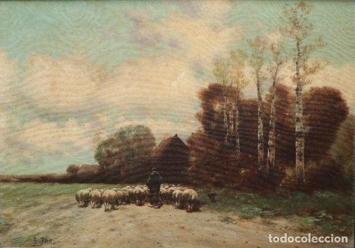 Arte: Paisaje de pastor con sus ovejas. Eduart Pail (Francia 1851 - 1916). Ó/lienzo. Med: 72 x 51 cm. - Foto 2 - 236050310