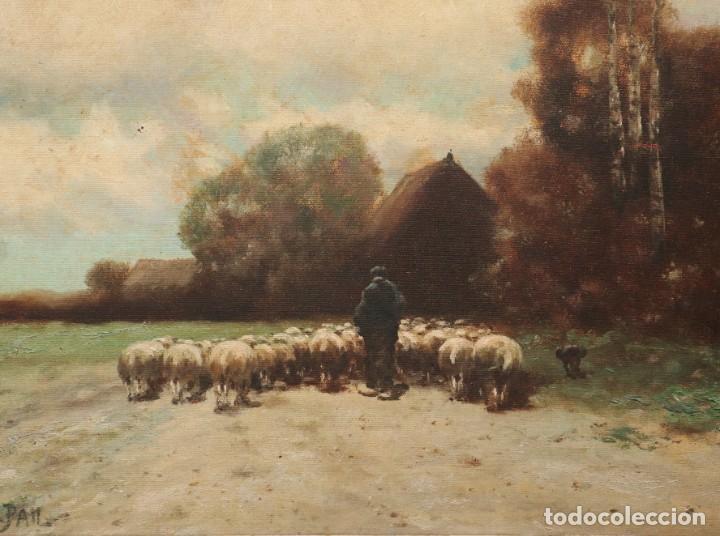Arte: Paisaje de pastor con sus ovejas. Eduart Pail (Francia 1851 - 1916). Ó/lienzo. Med: 72 x 51 cm. - Foto 3 - 236050310