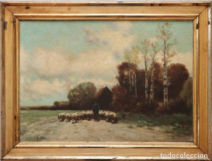 Arte: Paisaje de pastor con sus ovejas. Eduart Pail (Francia 1851 - 1916). Ó/lienzo. Med: 72 x 51 cm. - Foto 4 - 236050310