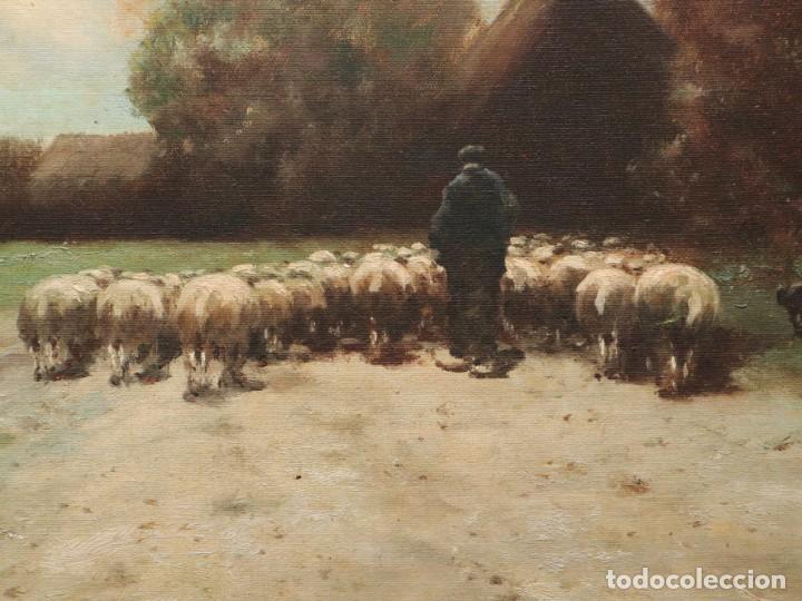 Arte: Paisaje de pastor con sus ovejas. Eduart Pail (Francia 1851 - 1916). Ó/lienzo. Med: 72 x 51 cm. - Foto 5 - 236050310