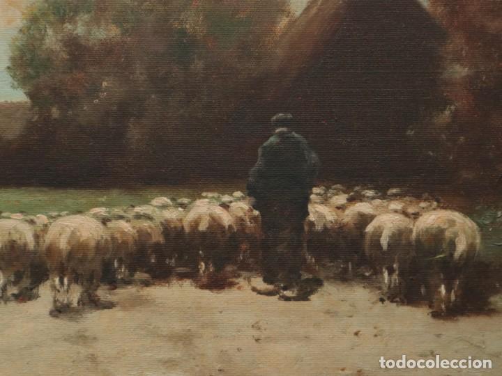 Arte: Paisaje de pastor con sus ovejas. Eduart Pail (Francia 1851 - 1916). Ó/lienzo. Med: 72 x 51 cm. - Foto 6 - 236050310