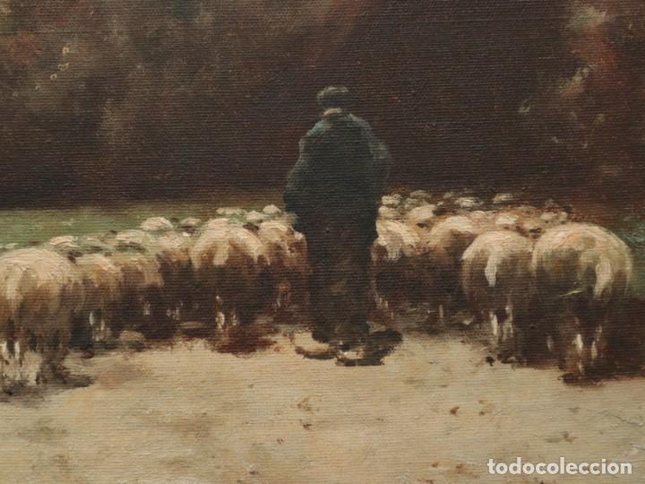 Arte: Paisaje de pastor con sus ovejas. Eduart Pail (Francia 1851 - 1916). Ó/lienzo. Med: 72 x 51 cm. - Foto 7 - 236050310