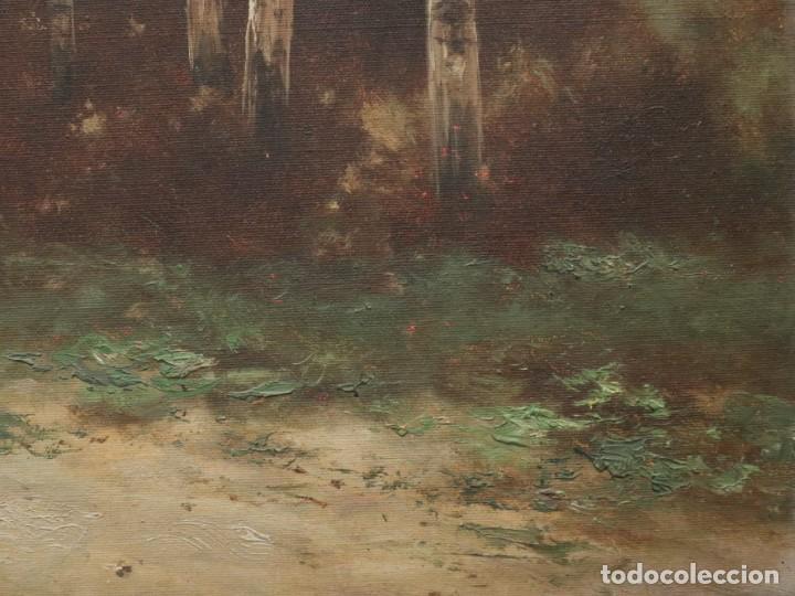 Arte: Paisaje de pastor con sus ovejas. Eduart Pail (Francia 1851 - 1916). Ó/lienzo. Med: 72 x 51 cm. - Foto 8 - 236050310