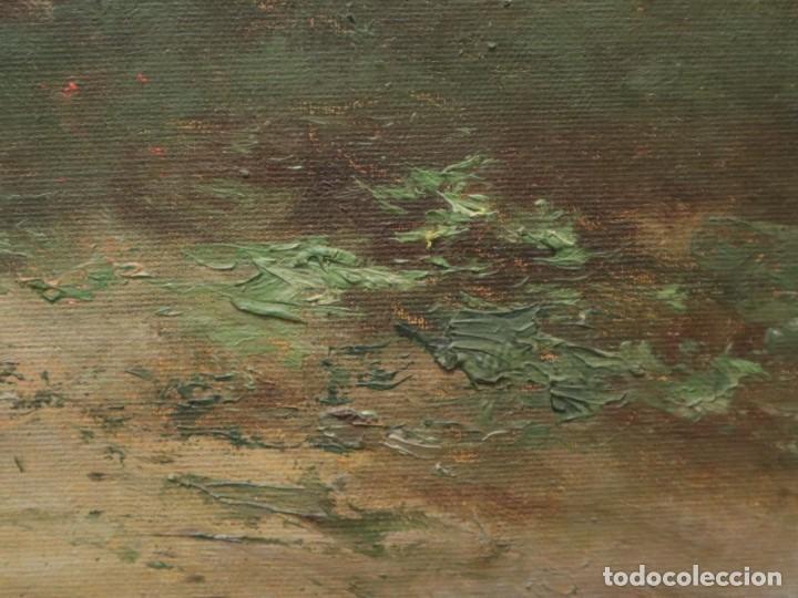Arte: Paisaje de pastor con sus ovejas. Eduart Pail (Francia 1851 - 1916). Ó/lienzo. Med: 72 x 51 cm. - Foto 9 - 236050310