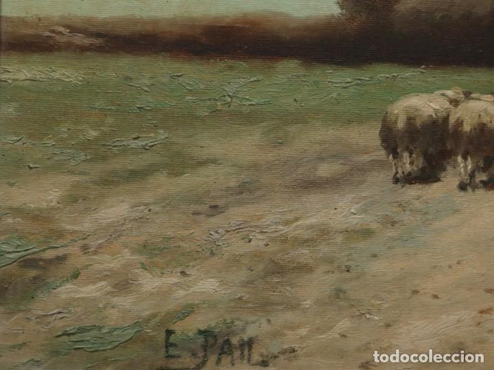 Arte: Paisaje de pastor con sus ovejas. Eduart Pail (Francia 1851 - 1916). Ó/lienzo. Med: 72 x 51 cm. - Foto 15 - 236050310