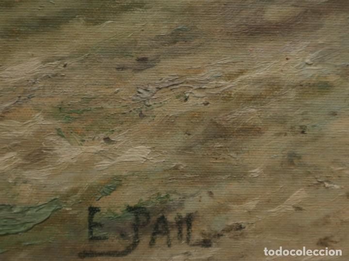 Arte: Paisaje de pastor con sus ovejas. Eduart Pail (Francia 1851 - 1916). Ó/lienzo. Med: 72 x 51 cm. - Foto 16 - 236050310