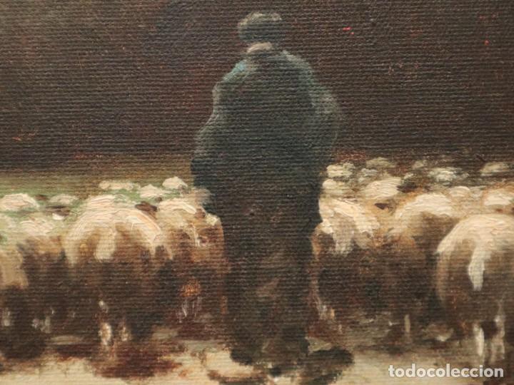 Arte: Paisaje de pastor con sus ovejas. Eduart Pail (Francia 1851 - 1916). Ó/lienzo. Med: 72 x 51 cm. - Foto 17 - 236050310