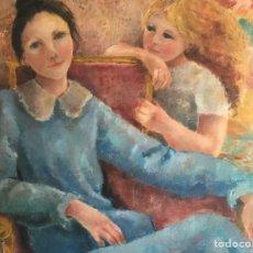 Arte: CARME NAVARRO PRUNA (BCN 1933) ÓLEO CON REPRESENTACIÓN DE FIGURAS FEMENINAS EN INTERIOR. FIRMADO. Lote 236158620