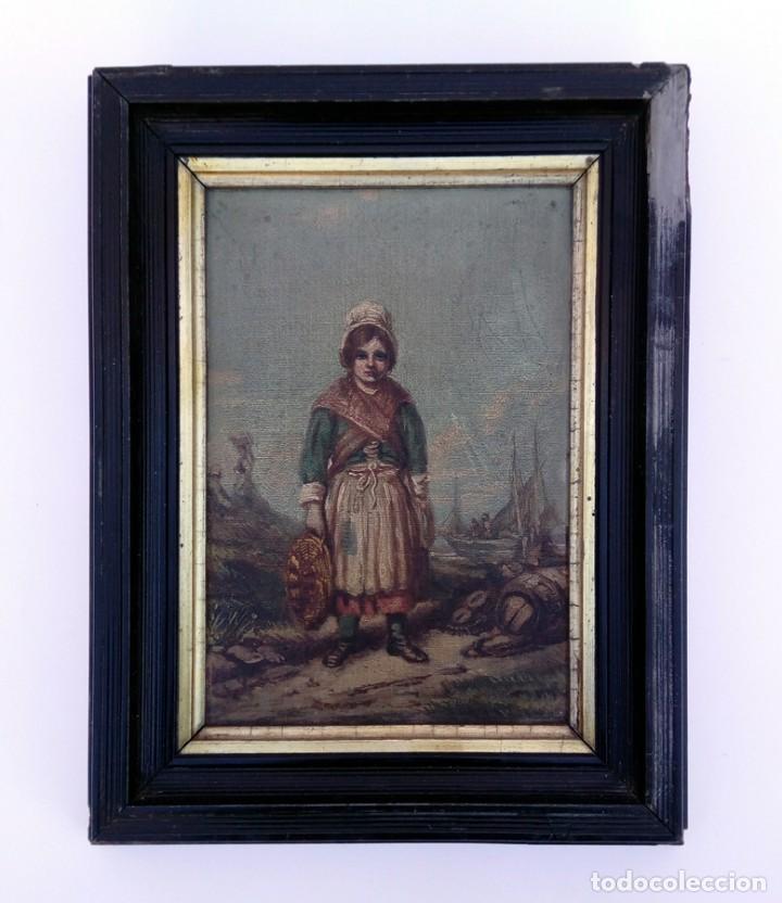 OLEO SOBRE CARTÓN DURO POSIBLEMENTE HOLANDÉS SIGLO XIX MUJER VENDEDORA DE PESCADO (Arte - Pintura - Pintura al Óleo Moderna siglo XIX)