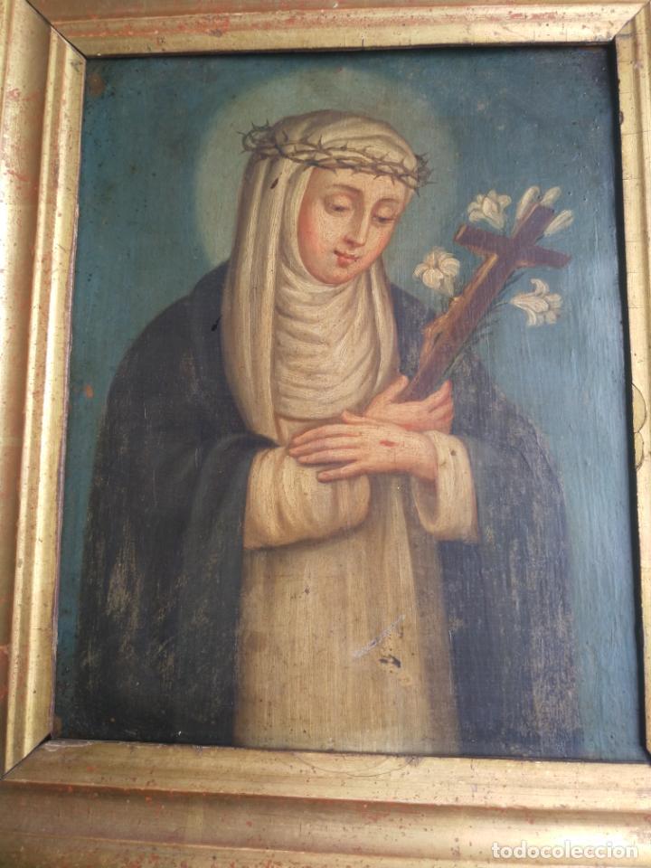 Arte: Antiguo óleo sobre cobre imagen de Santa Catalina de Siena - Foto 5 - 27394754