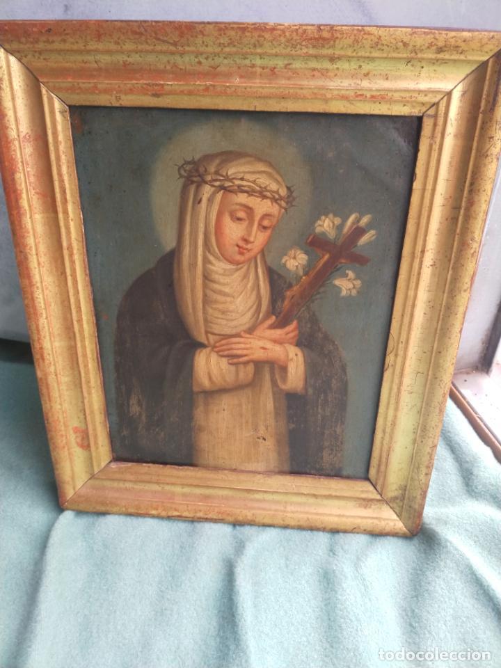 Arte: Antiguo óleo sobre cobre imagen de Santa Catalina de Siena - Foto 6 - 27394754