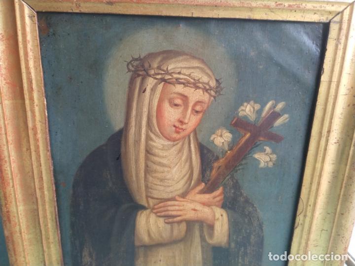 Arte: Antiguo óleo sobre cobre imagen de Santa Catalina de Siena - Foto 7 - 27394754