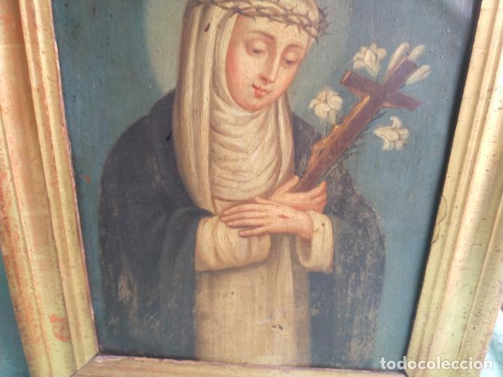 Arte: Antiguo óleo sobre cobre imagen de Santa Catalina de Siena - Foto 8 - 27394754