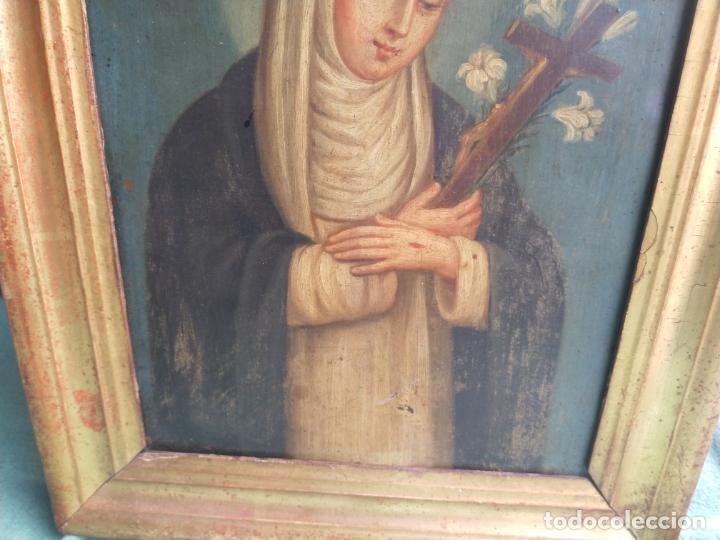 Arte: Antiguo óleo sobre cobre imagen de Santa Catalina de Siena - Foto 9 - 27394754