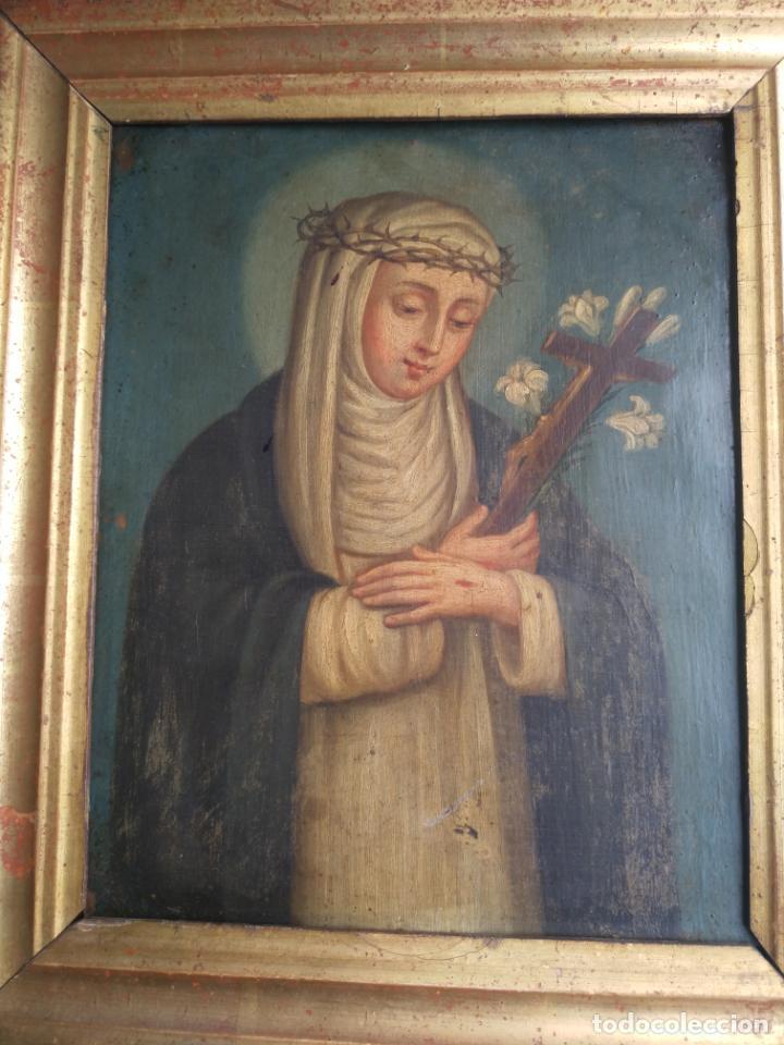 Arte: Antiguo óleo sobre cobre imagen de Santa Catalina de Siena - Foto 10 - 27394754