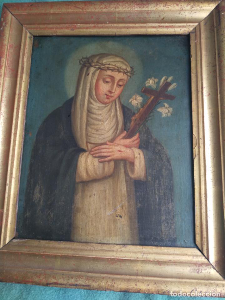 Arte: Antiguo óleo sobre cobre imagen de Santa Catalina de Siena - Foto 11 - 27394754