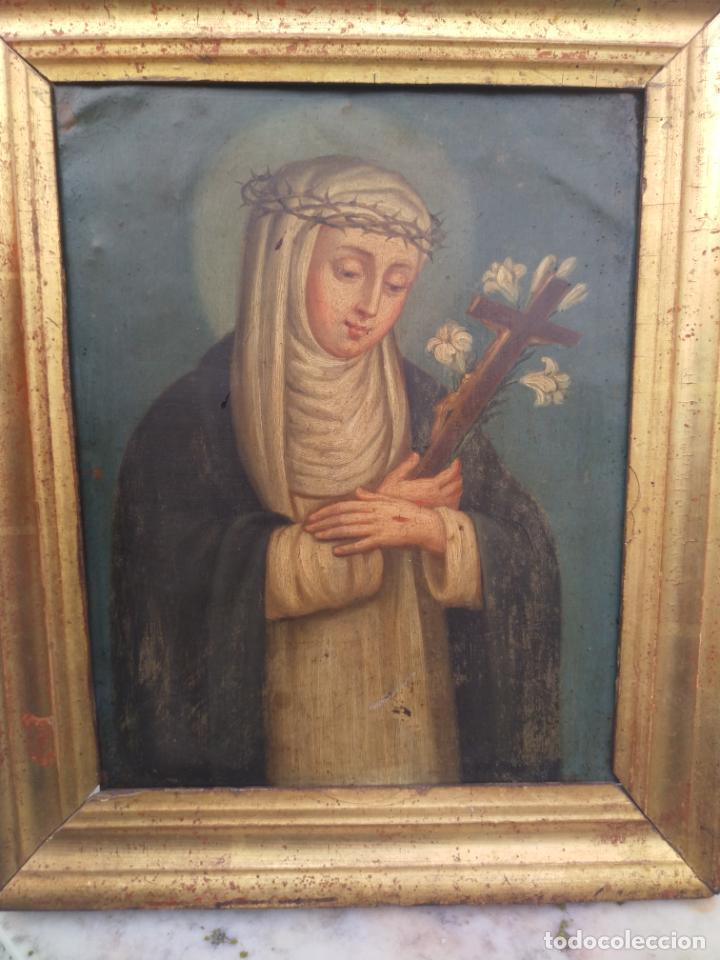 Arte: Antiguo óleo sobre cobre imagen de Santa Catalina de Siena - Foto 12 - 27394754