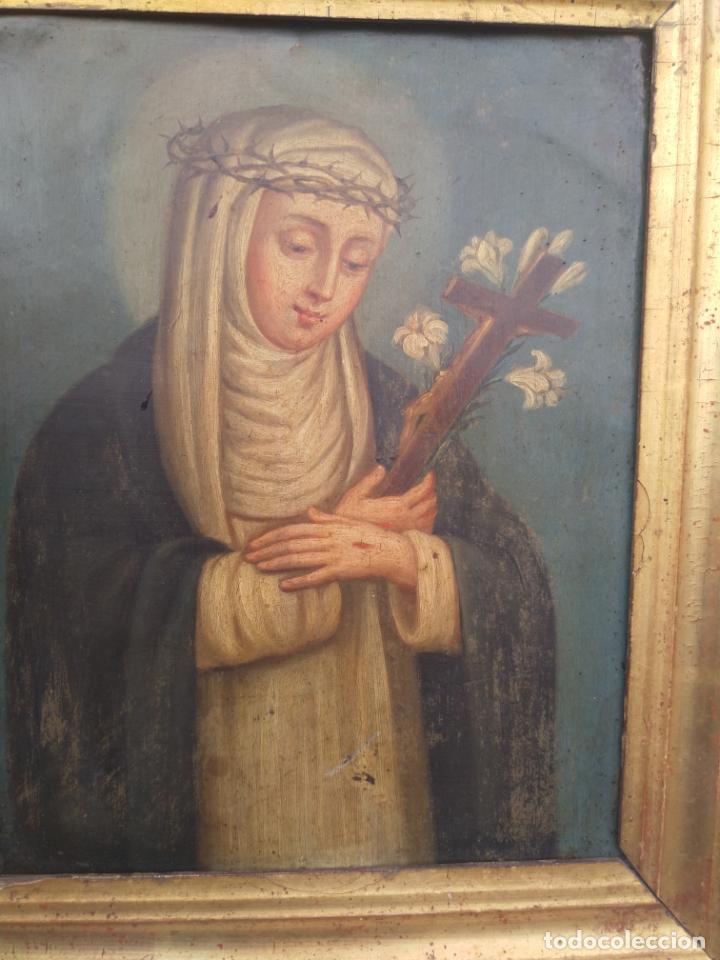 Arte: Antiguo óleo sobre cobre imagen de Santa Catalina de Siena - Foto 13 - 27394754