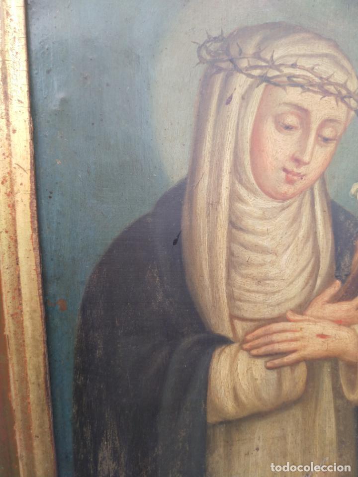 Arte: Antiguo óleo sobre cobre imagen de Santa Catalina de Siena - Foto 15 - 27394754