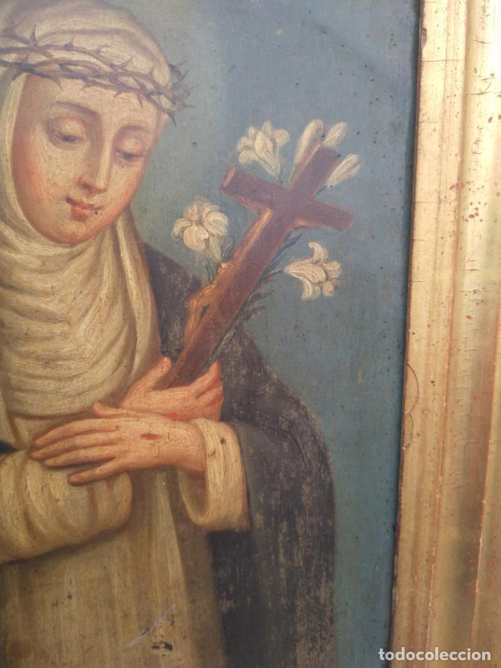 Arte: Antiguo óleo sobre cobre imagen de Santa Catalina de Siena - Foto 16 - 27394754