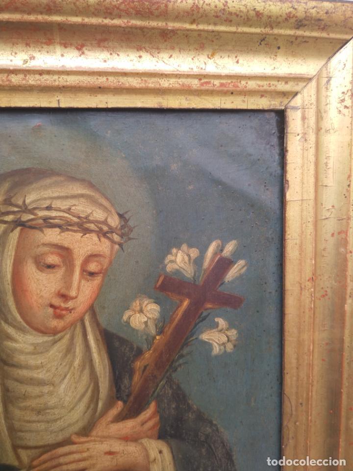 Arte: Antiguo óleo sobre cobre imagen de Santa Catalina de Siena - Foto 17 - 27394754