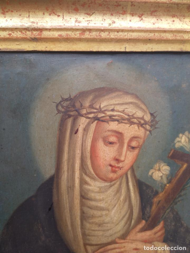 Arte: Antiguo óleo sobre cobre imagen de Santa Catalina de Siena - Foto 18 - 27394754
