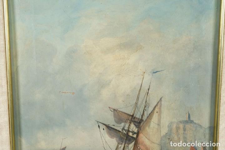 Arte: Óleos sobre lienzo Barcos en la playa mediados siglo XIX Firma ilegible - Foto 3 - 236238330