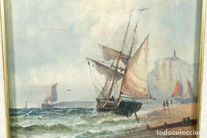 Arte: Óleos sobre lienzo Barcos en la playa mediados siglo XIX Firma ilegible - Foto 4 - 236238330