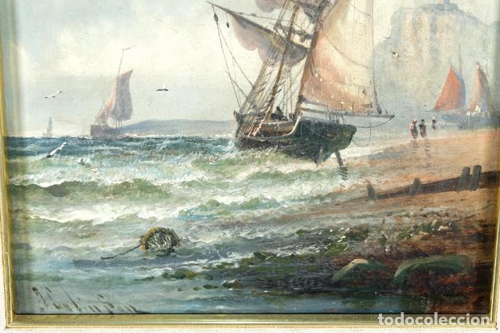 Arte: Óleos sobre lienzo Barcos en la playa mediados siglo XIX Firma ilegible - Foto 5 - 236238330