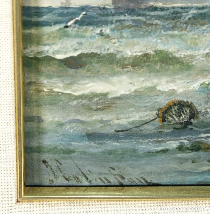 Arte: Óleos sobre lienzo Barcos en la playa mediados siglo XIX Firma ilegible - Foto 6 - 236238330