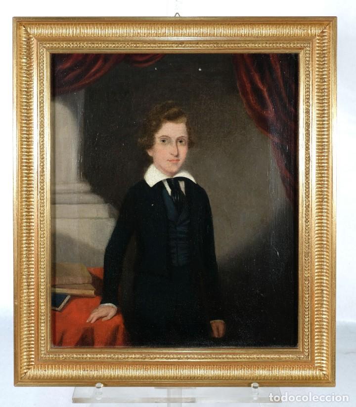 Arte: Óleo sobre lienzo Retrato niño siglo XIX - Foto 2 - 236238335