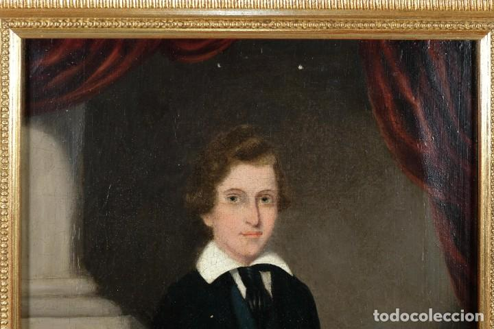 Arte: Óleo sobre lienzo Retrato niño siglo XIX - Foto 3 - 236238335