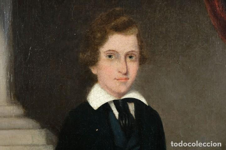 Arte: Óleo sobre lienzo Retrato niño siglo XIX - Foto 4 - 236238335