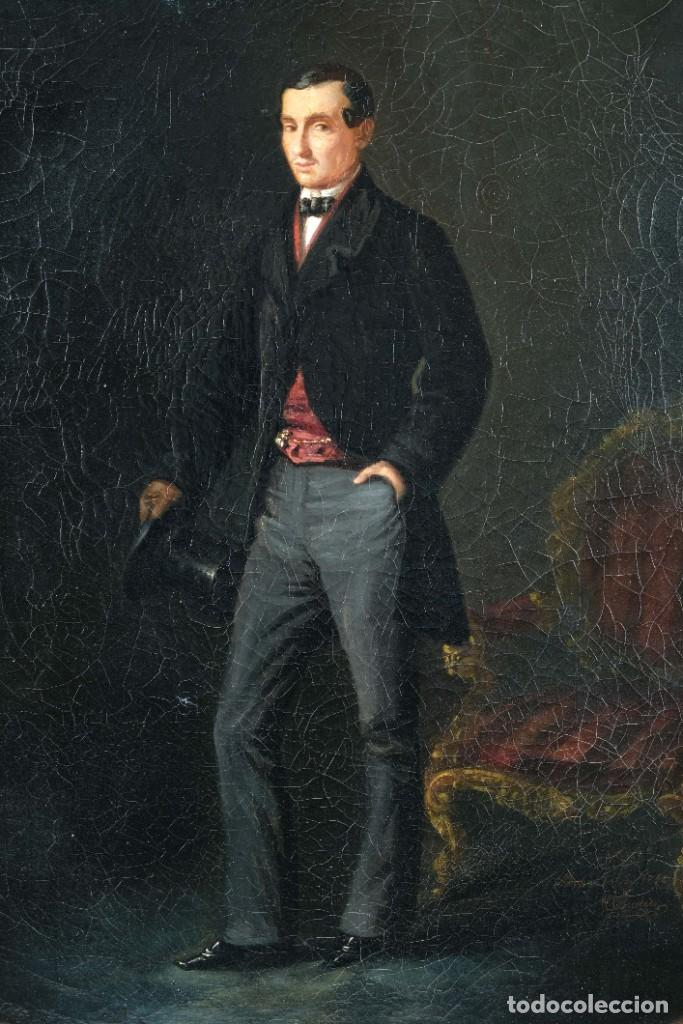 Arte: Óleo sobre lienzo Retrato caballero siglo XIX - Foto 3 - 236238355