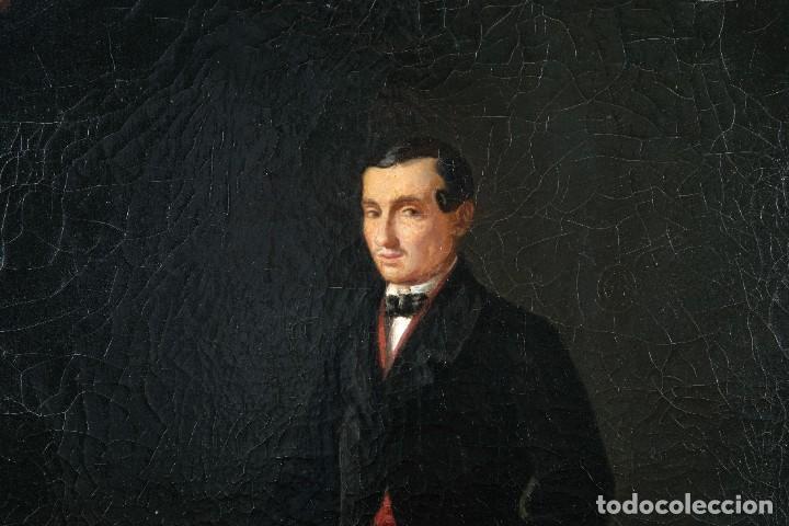 Arte: Óleo sobre lienzo Retrato caballero siglo XIX - Foto 5 - 236238355