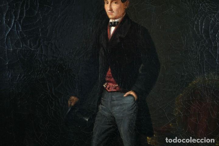 Arte: Óleo sobre lienzo Retrato caballero siglo XIX - Foto 6 - 236238355